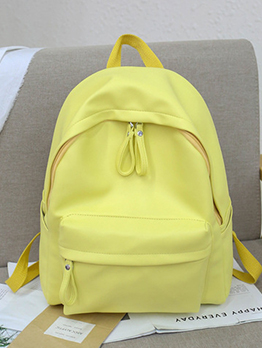 Minimalist Solid Pu Multiple Zipper Backpacks For School