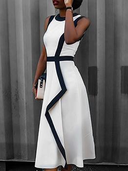 Fashion Contrast Color Ladies Sleeveless Dress