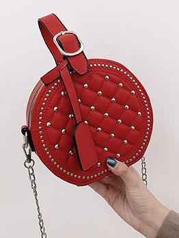 Rivets Decor Rhombus Round Chain Bag