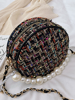 Two Size Tweed Woven Pearls Handle Round Chain Bag
