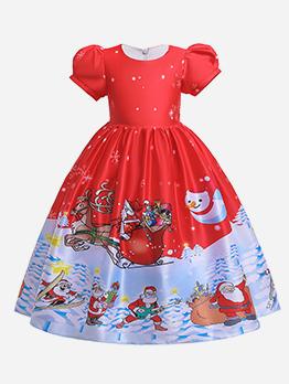 Christmas SantaClaus Pattern Flower Girl Gown