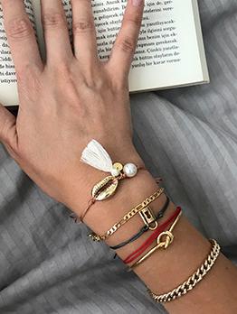 Shell Tassel Twist Bracelet 6 Piece Set