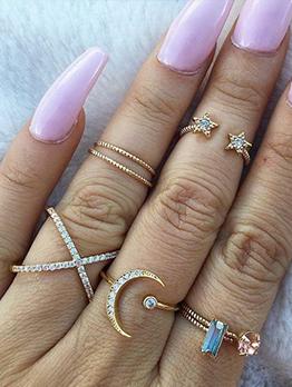 Rhinestone Star Moon Ring 7 Piece Set