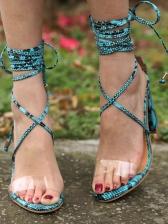 Transparent Lace Up High Heel Ladies Sandal