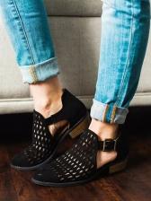 Hollow Buckle Strap Chunky Heel Sandal