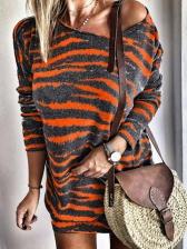 Striped Long Sleeve Short Dress