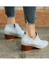 Solid Chunky Heel Boots For Women