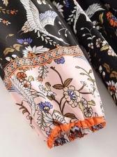 Bohemia Style White Crane Print Long Sleeve Dress