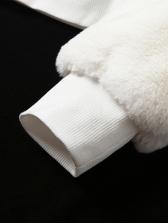 Minimalist All White Hooded Collar Plush Winter Coats