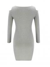 Off Shoulder V Neck Rhinestones Decor Ladies Dress