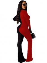 Contrast Color Bell Bottom Long Sleeve Jumpsuit