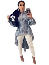 Irregular Hem Striped Long Shirt For Women