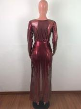 Deep V Neck Glitter Sequined High Split Prom Dresses