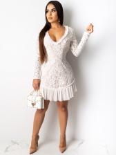 Backless V Neck Chiffon Hem Lace Long Sleeve Dress