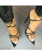 Solid Cross Belt Ankle Strap Peep Toe Heels