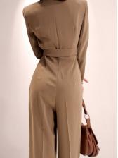 Office Ladies Tie-Wrap Solid Color Wide Leg Jumpsuit