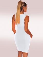 Crew Neck Sleeveless Solid Bodycon Dress