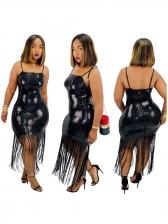 Sexy Tassel Hem Sleeveless Sequin Dress