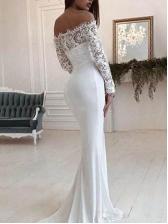Boat Neck White Long Sleeve Lace Wedding Dress