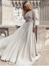 Backless Rhinestones Decor Long Sleeve Prom Dresses