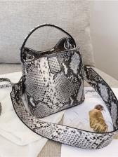 Chic Snake Print Wide Belt Crossbody Bucket Bag