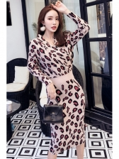 V Neck Leopard Long Sleeve Sweater Dress