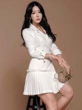 Pleated Hem White Blazer Dress For Women