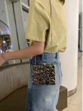 Metal Material Specular Ripple Chain Shoulder Bag