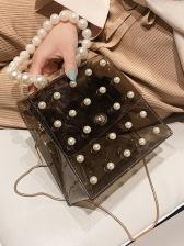 Transparent PVC Trapezoidal Pearls Handle Chain Bag