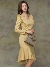 Office Lady Fishtail Hem Yellow Long Sleeve Dress