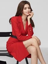 Fashion Lapel Collar Red Blazer Dress For Women