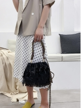 PVC Tassel Drawstring Woven Belt Crossbody Shoulder Bag