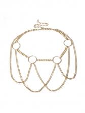 Punk Style Geometric Ring Multi Chain Belt