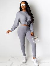 Pure Color Long Sleeve Womens Trouser Suit