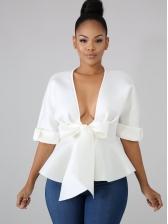 Sexy V Neck Ruffled White Bow Blouse