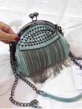 Rivets Decor Tassel Women Chain Shoulder Bag