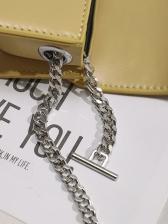 Minimalist Pu Mini Silvery Chain Bag For Women
