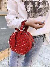 Rivets Decor Diamond Pattern Round Chain Bag