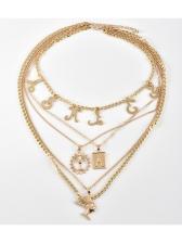 Punk Letter Human Head Multi Layer Pendant Necklace