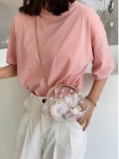 Transparent PVC Faux Pearls Decor Small Chain Bag