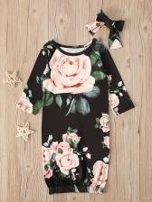 Night Flower Printed Long Sleeve Baby Girl Dresses