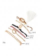 Shell Pearl Tassel Twist Bracelet 6 Piece Set