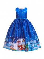 Christmas Pattern Sleeveless Flower Girl Dresses