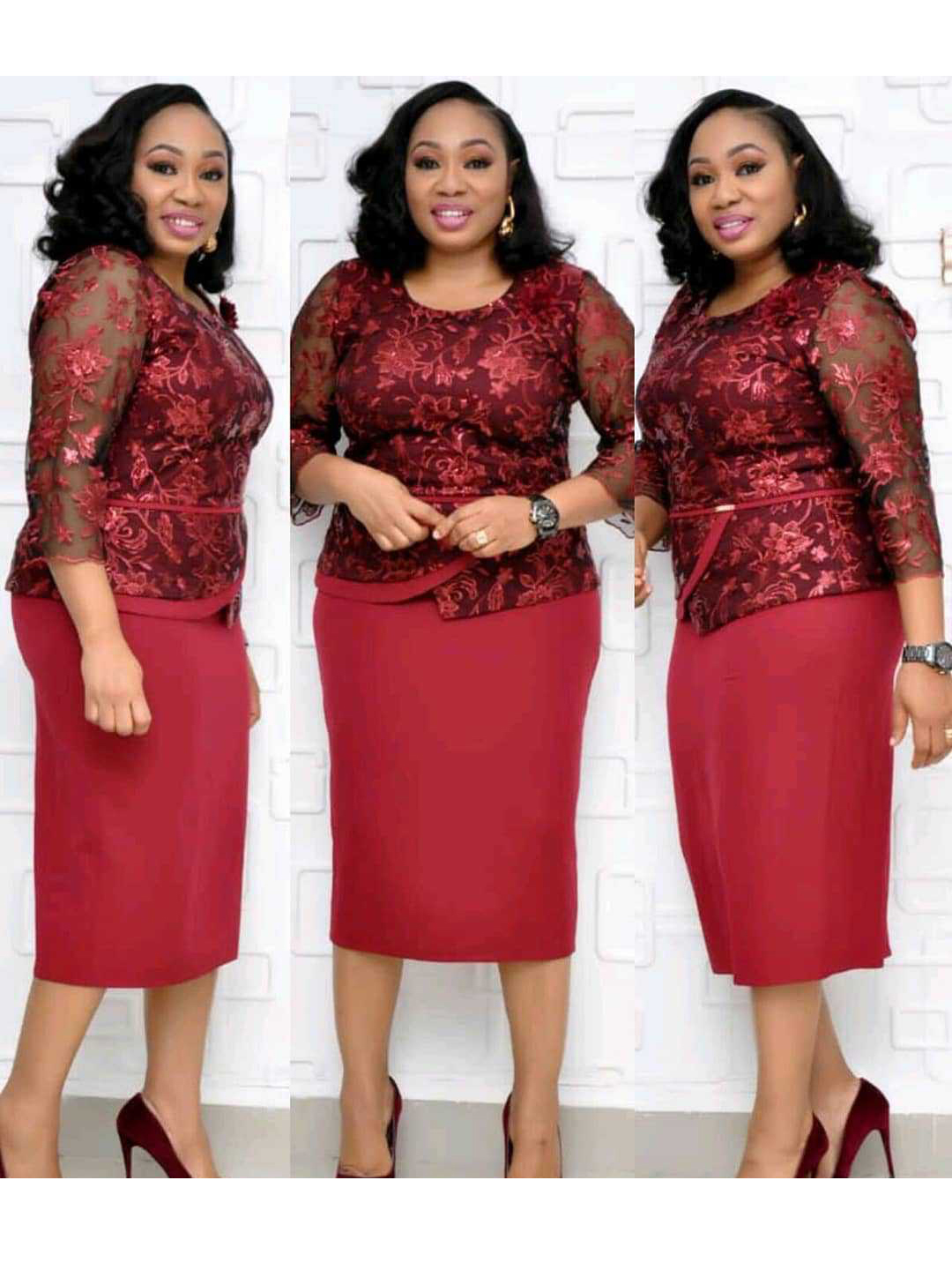 African Embroidery Long Sleeve Plus Size Dress