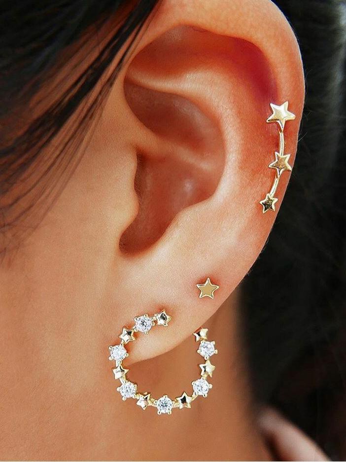 Chic Star Golden Earrings 3 Piece Sets