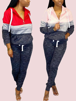 Contrast Color Long Sleeve Hooded 2 Piece Pants Set