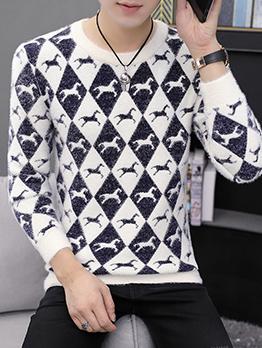 Stylish Horse Printed Male Sweater
