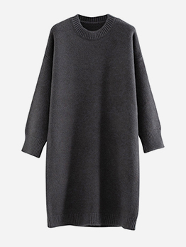 Grunge Style Crew Neck Solid Sweater Dress