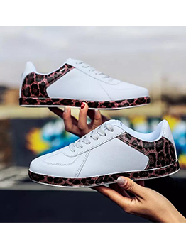 Whip Stitch Patchwork Leopard Printed Womens Sneakers