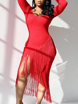 Deep V Neck Tassel Solid Womens Long Sleeve Dress